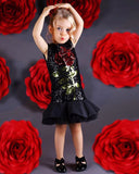 Famous Kids Boutique Sequined Rose Casual Party Dress (6M - 3 Y)