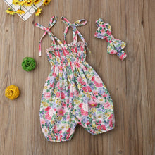 Load image into Gallery viewer, Floral Sling Jumpsuit + Headband (0 - 12 M)