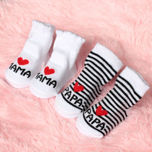 Pack of 2 Love Mama & Papa Newborn Socks