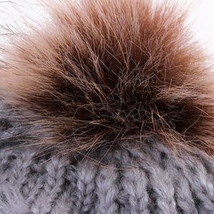 Furry Pom Pom Knitted Beanie (0 - 24M)