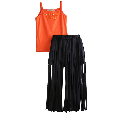 Tassels Maxi Skirt with Orange Beaded Flower Top (1 - 6 Y)