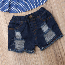 Load image into Gallery viewer, Short Off Shoulder Top & Ripped Denim Shorts