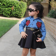 Load image into Gallery viewer, Dual Flower Denim Shirt + High Waist Skirt (9M - 4Y)