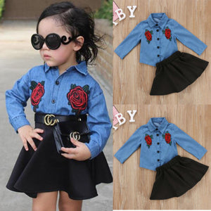 Dual Flower Denim Shirt + High Waist Skirt (9M - 4Y)