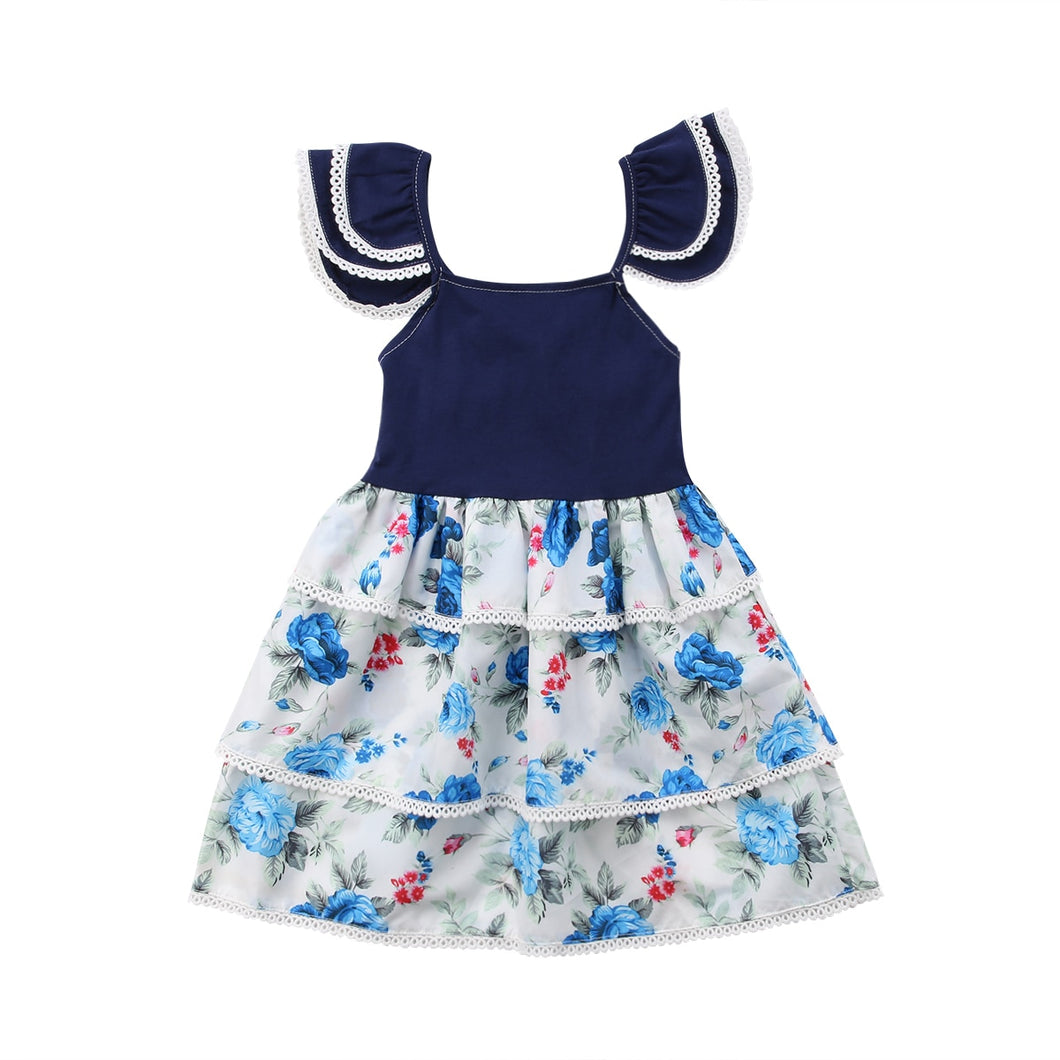 Floral Pageant Tiered Mini Frock (6 M - 3 Y)