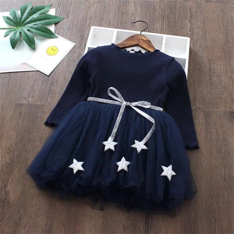 Winter Full Sleeves Frock - Wool, Cotton, Mesh (1 - 4 Y)  Navy Blue