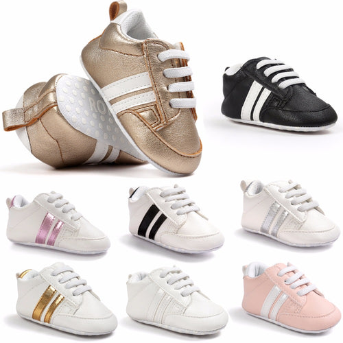 All-season Soft Sports Leather Sneakers for Boys & Girls (0 - 18M) - GoFancy