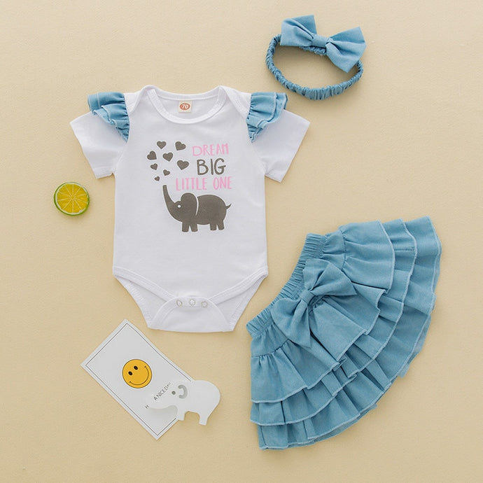 Dreamer Elephant's 3 Pc Outfit - Size Range: 0 to 12 Months