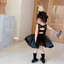 Load image into Gallery viewer, Young Girls Elegant Goth Dresss Black Sleeveless Tutu Dress Backless Off Shoulder Party Kid Dresses 4 5 6 8 9 10 11 12 Years Old