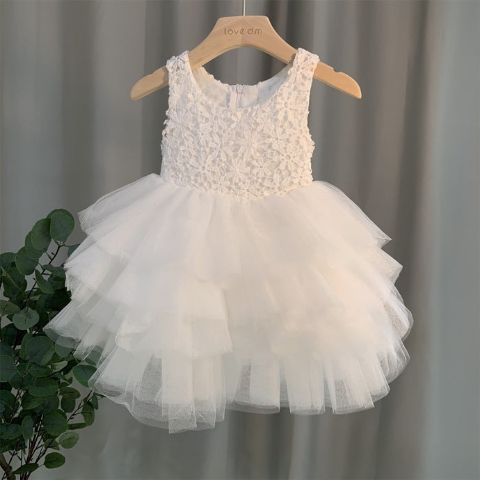 2019 Summer Girl Lace Dresses Princess bow Kids Dress Party Birthday Ceremony Elegant Girl Bridesmaid dress for girls 2-8 Year
