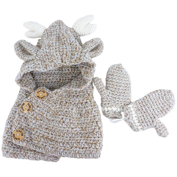 Heavy Hand-Knitted Shoulder Cap with Gloves - Age Range: 3 to 5 Years