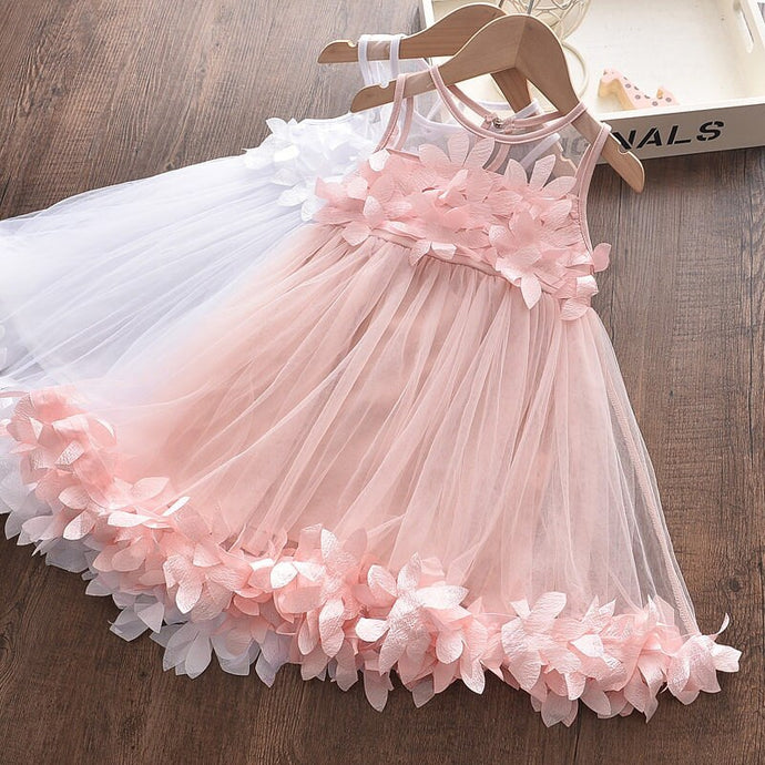 Sleeveless Flower Girl Dresses Mesh Baby Girl Dress Summer Cool Children's Clothing Sweet Lace Vest Dress Petal Princess Dress