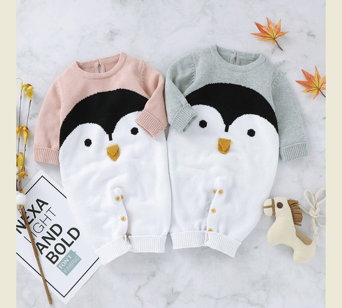 Knitted Penguin Jumpsuit - Size Range: 3 to 18 Months