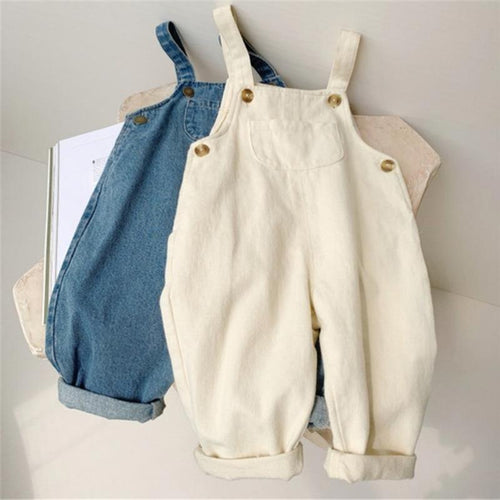 Baby Boy Solid Denim Overalls Child Jean Bib Pants Infant Jumpsuit Children's Clothing Kids Overalls Autumn Girls Outfits