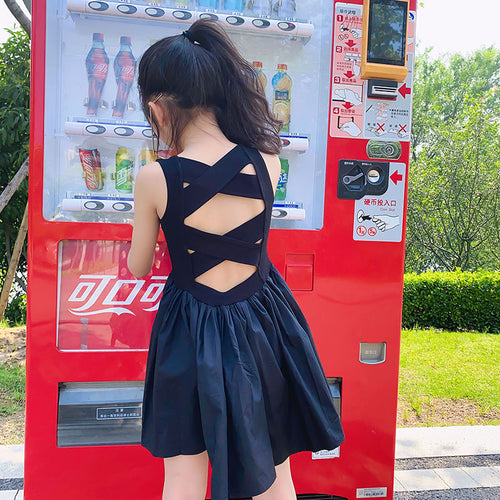 Young Girls Elegant Goth Dresss Black Sleeveless Tutu Dress Backless Off Shoulder Party Kid Dresses 4 5 6 8 9 10 11 12 Years Old