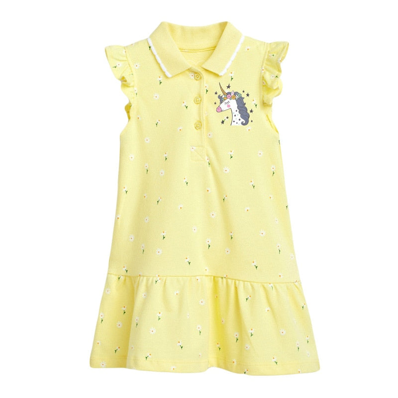 Little Maven 2021 Summer Baby Girl Vestiods Clothes Toddler Flower Button Unicorn Print Yellow Dress for Kids 2-7 Years S1002