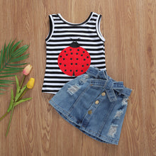 Load image into Gallery viewer, 2Pcs Summer Toddler Kid Baby Girl Clothes Ladybug Striped Top T-shirt Denim Shorts Outfit 1-6Years