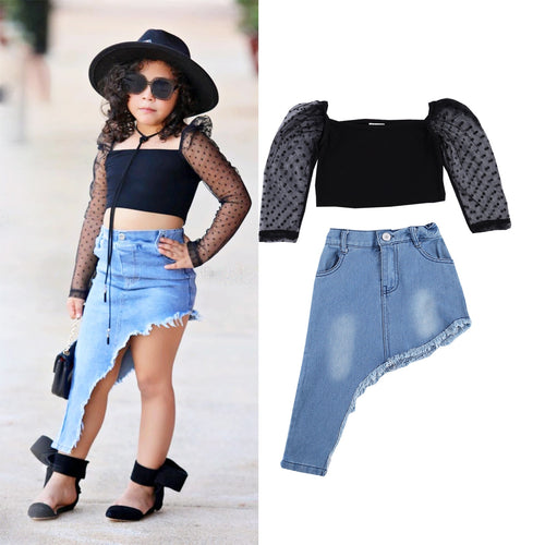 1-7Y Fashion Toddler Baby Girls Clothes Sets Mesh Lace Long Sleeve Pullover Tops Denim Blue Skirts 2pcs