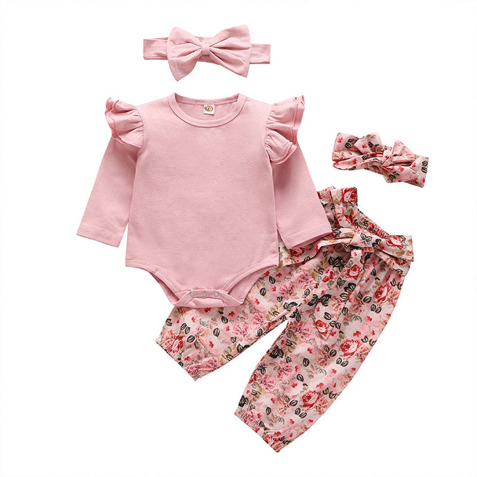 2020 New Spring and Autumn wear Pink floral style 2 piece set women jumpsuit set