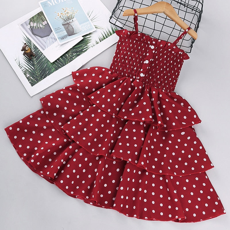 Dotted Sling Frock - Size Range: 1 to 6 Years