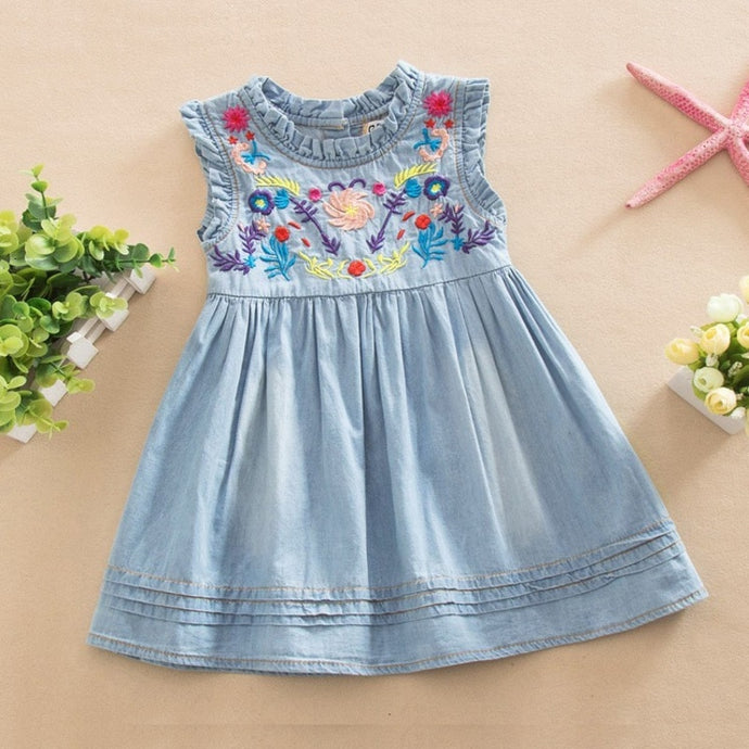 AiLe Rabbit Girls Denim Dress Princess Dress embroidered Sleeveless high quality casual comfortable children's clothing k1