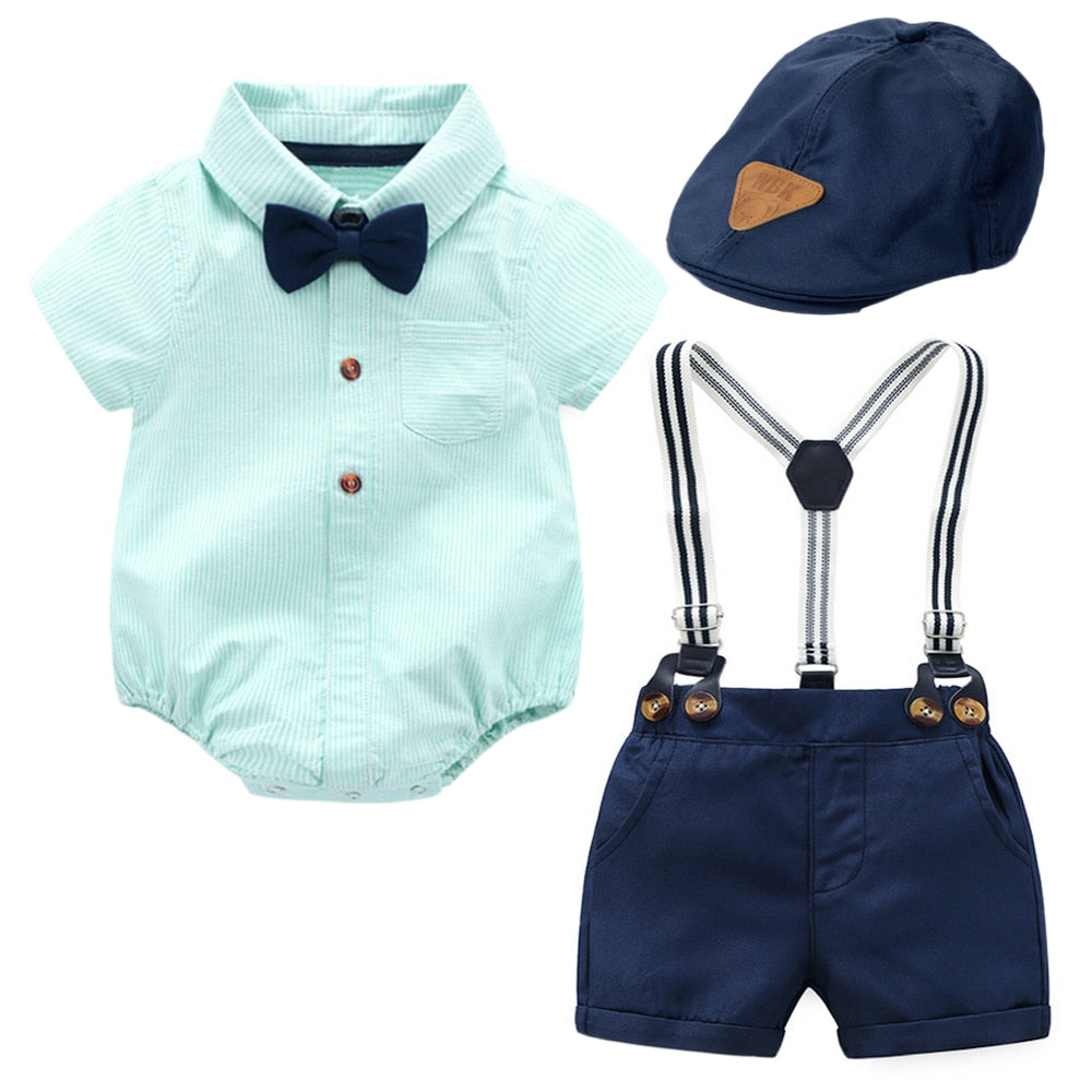 Baby Boy Hat Clothes Navy Cap + Green Striped Romper + Bow + Navy Shorts + Suspenders Belt Sets Infant Clothing Newborn Outfit