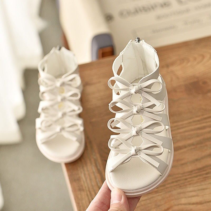 New Girls Sandals Summer Fashion Gladiator Cut-Outs Bowtie Leisure Princess Shoes Comfortable Breathable Soft Kids Rome Sandals