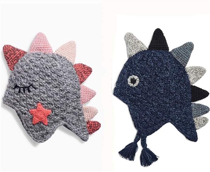 Hand-knitted Dino Caps - Size Range: 9 months to 6 years