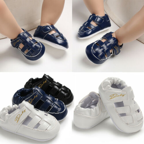 UK New Infant Newborn Baby Boy Girl Anti-slip Walking Sandals Rubber Sole Crib Soft Sport Walking Shoes First Walkers