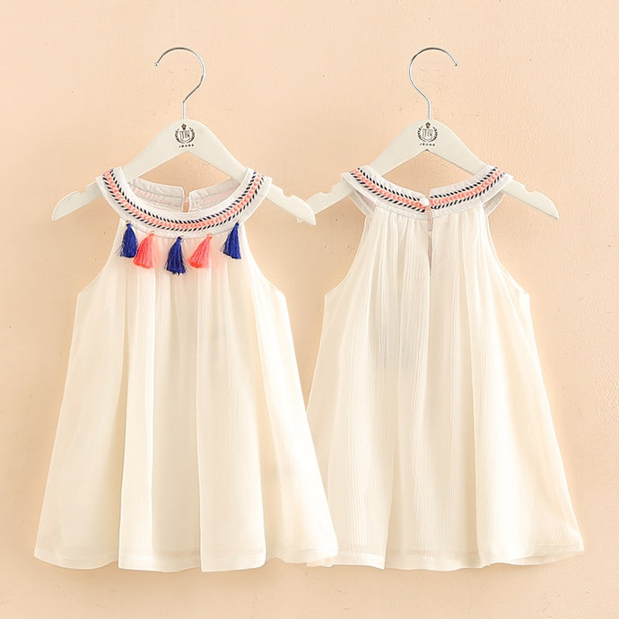 2021 Hot Summer 2-10T Years Children's Plaid Braid O-Neck Ethnic Vintage Style Tank Sundress Tassel Kids Baby Girls Lace Dress