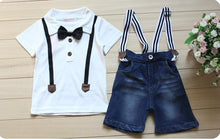 Load image into Gallery viewer, 2016 Summer children's clothing set Outfits Sets Kids Cloth boys 2 pcs set  Bow Tie Short Sleeve T-shirts Denim Suspender Shorts