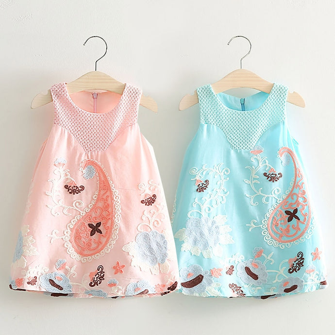 2021 Summer 2 3 4 5 6 7 8 Years Old Children'S Birthday Gift Clothing Baby Kids Girls Graffiti Embroidery Sleeveless Tank Dress