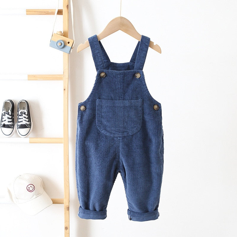 Unisex Fashion Corduroy Jumpsuits - Size Range: 6 Months to 3 Years