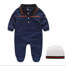 Load image into Gallery viewer, Designers Jumpsuit & Cap Set - Size Range: 0 to 12 Months