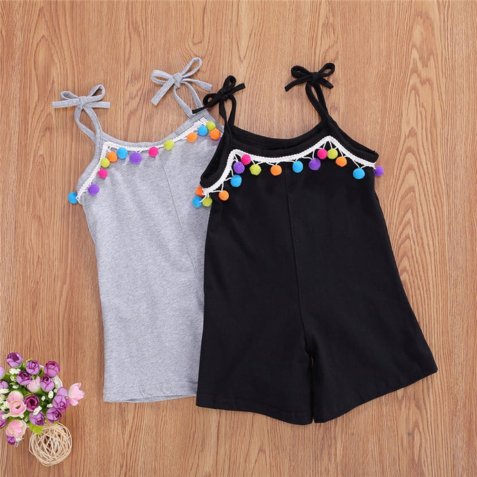 2020 Fashion Summer Kid Baby Girls Overalls Shorts Colorful Tassel Sleeveless Sling Solid Color Straight Jumpsuits Clothes