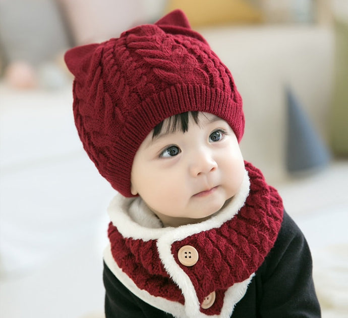 Knitted Caps with Flap Scarf & Padded Inside - Age Range: 3 to 24 Months
