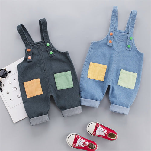 Kids Baby Boys Girls Denim Long Jeans patchwork Overalls Toddler Fashion Infant Boy Girl Playsuit Clothes Clothing Long Trousers