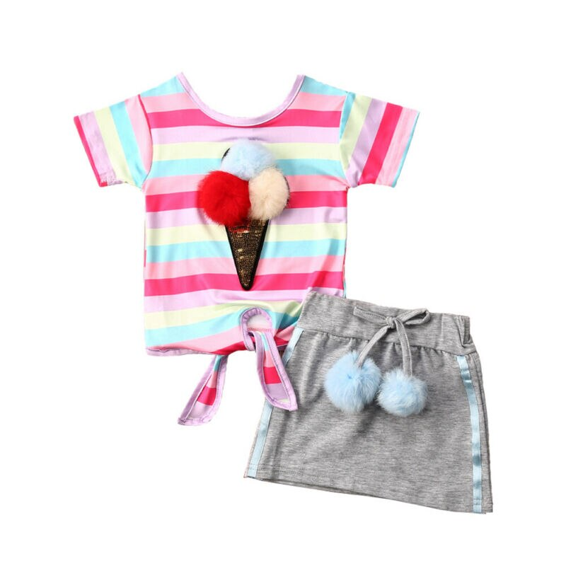 Toddler Kids Baby Girl Spring Summer Clothes Set 2pcs Princess Short Sleeve Tops T-shirt Skirt Party Outfits Set 1-5Years