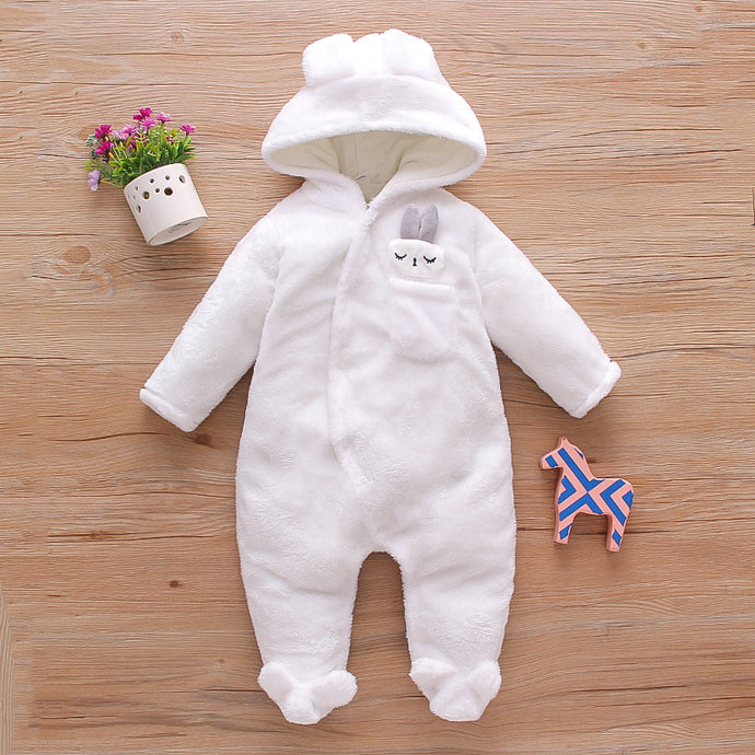 Warm & Cute Hooded Jumpsuit - Size Range: 0 to 12 Months