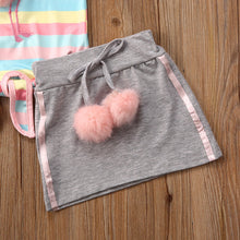 Load image into Gallery viewer, Toddler Kids Baby Girl Spring Summer Clothes Set 2pcs Princess Short Sleeve Tops T-shirt Skirt Party Outfits Set 1-5Years