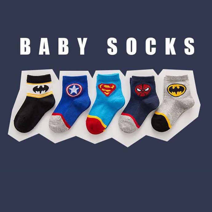 5 Pair Set of Super Hero Ankle Socks - Size Range: 1 to 8 Years