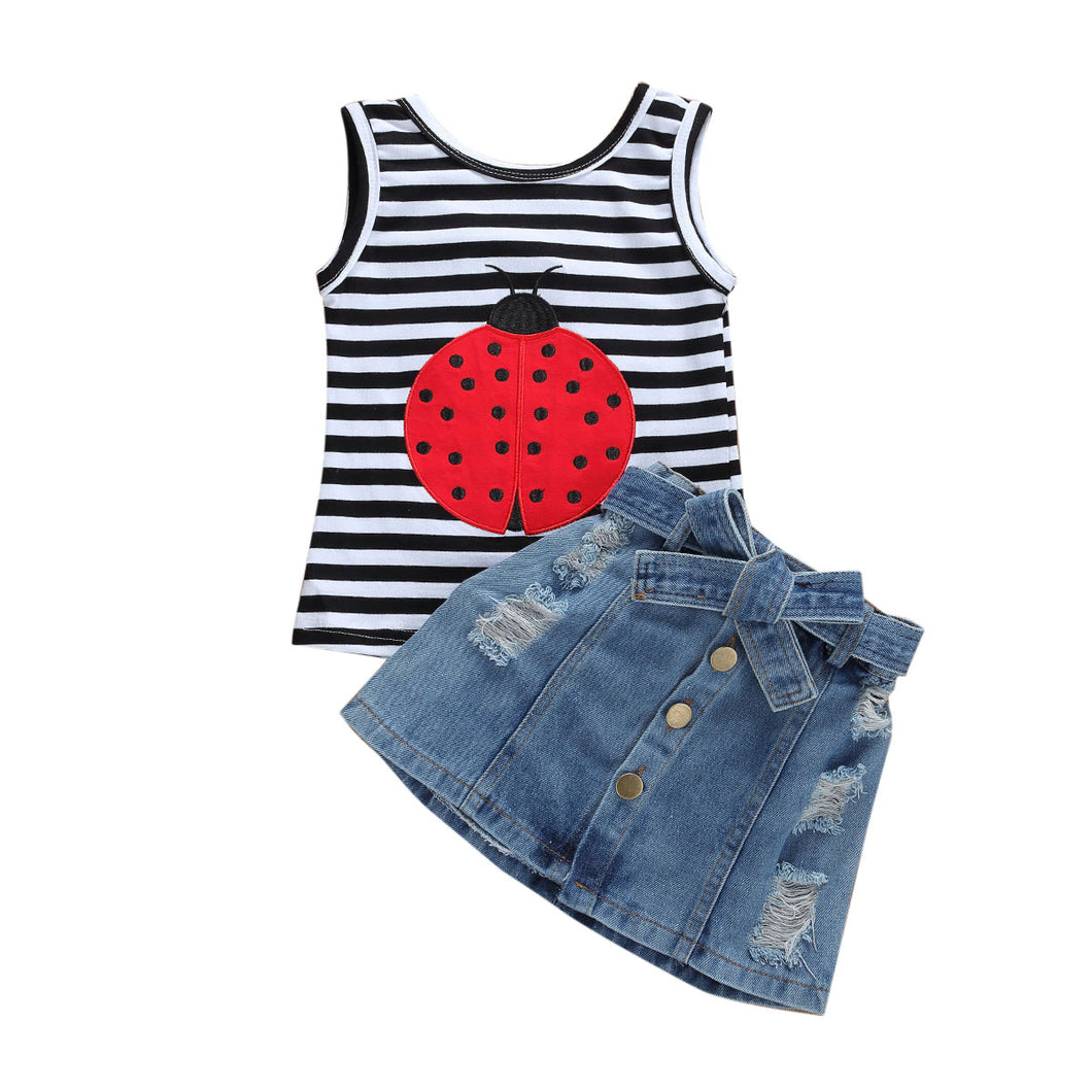 2Pcs Summer Toddler Kid Baby Girl Clothes Ladybug Striped Top T-shirt Denim Shorts Outfit 1-6Years