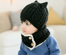 Load image into Gallery viewer, Knitted Caps with Flap Scarf & Padded Inside - Age Range: 3 to 24 Months