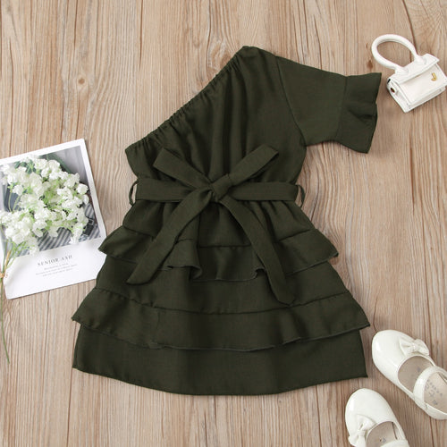 FOCUSNORM 1-6Y Fashion Kids Girls Summer Dress Ruffles Solid One Shoulder Bowknot Layered Dress