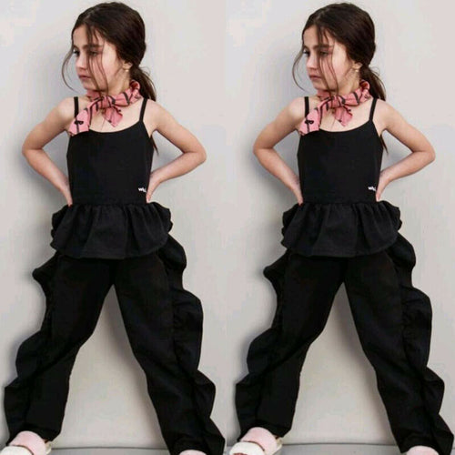 Strap Solid Tee + Ruffles Long Pants