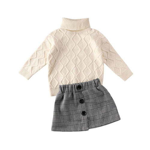 Turtleneck Knitted Sweater Top & Mini Skirt (1 - 5 Y)