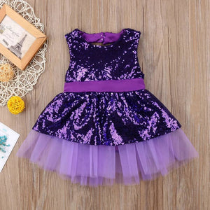 Sequined Big Back Bow-knot Dress (3 - 24 M)