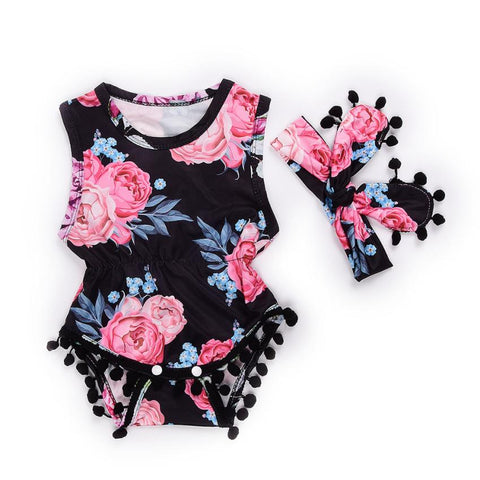 Pom Pom Romper Sunsuit with Band (0 - 12 M)
