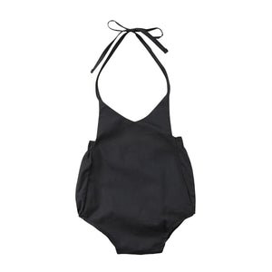 The Solid Black Plain Romper (0 - 12 M)