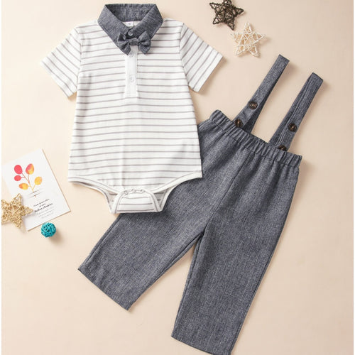 Trendy & Classy Striped Bow Polo + Overall